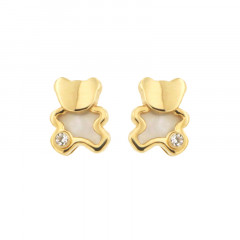 Boucles d'oreilles OURSON OZ NACRE Or 375°°° - VIS SECURITE