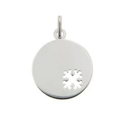 Médaille bébé Or blanc 375°°° CROIX OCCITANE ajouré