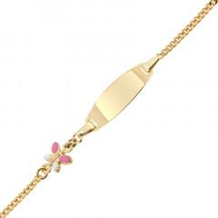 Bracelet Identité Bébé Or 375°°° PAPILLON ROSE CH GOURMETTE- 12+2cm