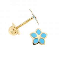 Boucles d'oreilles FLEUR Turquoise Or 375°°° - VIS SECURITE