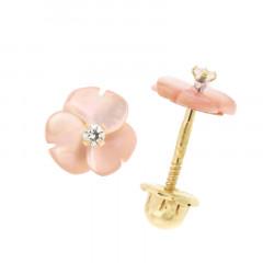 Boucles d'oreilles FLEUR NACRE Rose Or 375°°° - VIS SECURITE