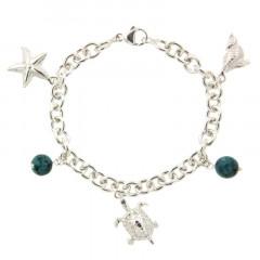 Bracelet Argent LA MER 3 Breloques - 2 Turquoise Synt D8