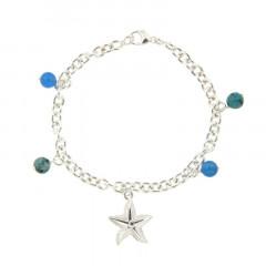 Bracelet Argent LA MER 5 Breloques Etoile de mer- 4 pierres D6