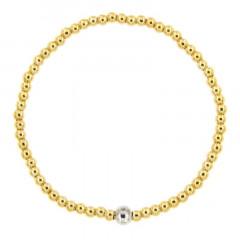 Bracelet Argent BOULE LIGHT 3 élastique - Doré