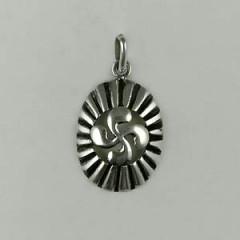 Médaille Argent OVALE Croix BASQUE CORDON