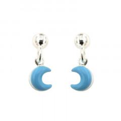 Boucles d'oreilles Argent LUNE Bleu ciel pampille
