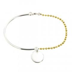 Bracelet Argent EPURE Semi-articulé FR20/Ble Bic Jaune - Disque D12