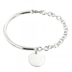 Bracelet Argent EPURE Semi-articulé FR35/Fil rond - Disque D15