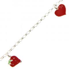 Bracelet Argent ENFANT 3 Fraise-Coeur-Cerise rouge  16+2cm