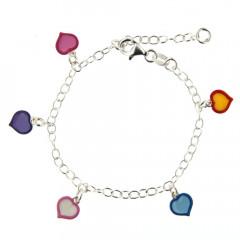 Bracelet Argent ENFANT PP 5 Coeurs multi  L: 14,5+2cm