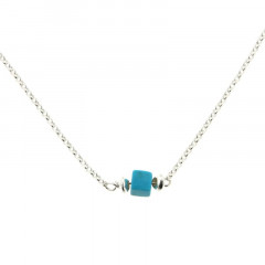 Collier Argent MASSAÏ/2  1 Cube Aulite Turquoise 40+2.5cm