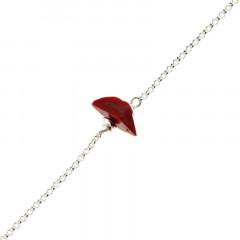 Bracelet Argent MASSAÏ/2  1 Chips Rouge 16+2.5cm