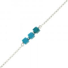 Bracelet Argent MASSAÏ/2  3 Cubes Aulite Turquoise 16+2.5cm