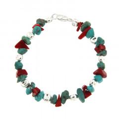 Bracelet Argent MASSAÏ/2  Bles Aplaties Chips Turquoise/rouge 20cm