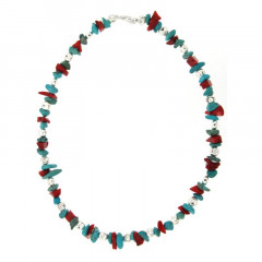Collier Argent MASSAÏ/2  Bles Applaties Chips Turquoise/rouge 40cm