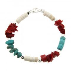 Bracelet Argent MASSAÏ/2  Chips/disk Turquoise/rouge/blanc 20cm