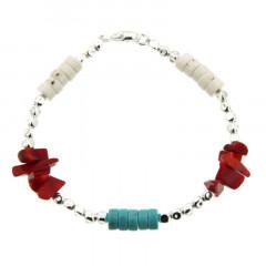 Bracelet Argent MASSAÏ/2  CUBI Chips/disk Turquoise/rouge/blanc 19cm
