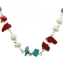 Collier Argent MASSAÏ/2  Chips/disk DUO chaine Turquoise/rouge/blanc 40cm
