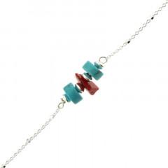 Bracelet Argent MASSAÏ/2  Chips Rouge/Ch-cub/ disques turquoise 16+2,5cm