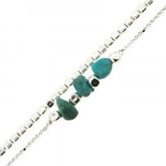 Bracelet Argent MASSAÏ/2  2 rangs Chips Turquoise/chaine cube argt 19cm