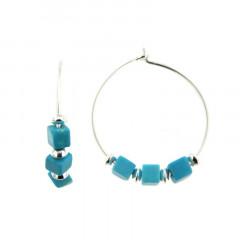 Créoles Argent MASSAI/2 -  FIL 3 cubes turquoise