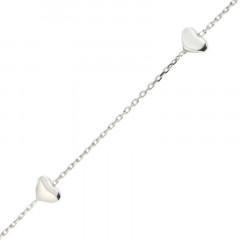 Bracelet Argent fins 3 Coeurs 16+2cm