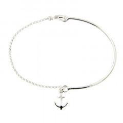 Bracelet Argent LA MER Semi-articulé FR15/Jas - Ancre
