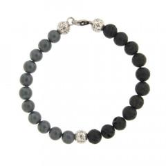 Bracelet Argent ANTIKA D8 Hématite mat/Lave 22cm