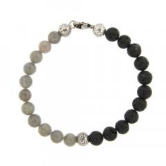 Bracelet Argent ANTIKA D8 Labradorite/Lave 22cm