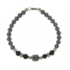 Bracelet Argent ANTIKA D6 Bouddha - Hématite mat 22cm