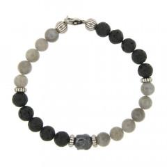 Bracelet Argent ANTIKA D8 Bouddha - Labradorite 22cm