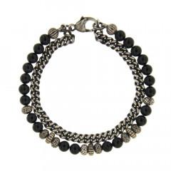 Bracelet Argent ANTIKA Double gourmette 5mm - Agate noire 6-22cm
