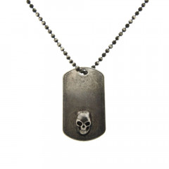 Collier Argent ANTIKA Plaque T/Mort1 - Chaine boule 50cm