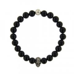 Bracelet Argent ANTIKA D8 - LASTIC T/Mort2 - Agate noir 8mm