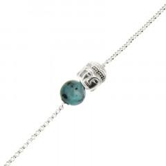 Bracelet Argent CHAKRA N°5 - Bouddha/Turquoise 18+2cm