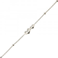 Bracelet Argent CH-Mini Boules 1/1 - COEUR/COEUR 16+2cm