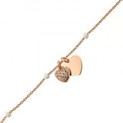 Bracelet Argent COEUR OZ/COEUR - Email Blanc 16+2cm- Rose
