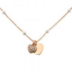 Collier Argent COEUR OZ/COEUR - Email Blanc 40+2cm- Rose