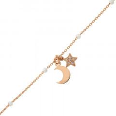 Bracelet Argent ETOILE/LUNE - Email Blanc 16+2cm- Rose