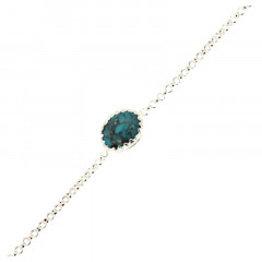 Bracelet Argent KHEOPS 8/6 Turquoise 17+2cm