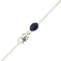 Bracelet Argent KHEOPS / Scarabée Lapis 16+2,5cm
