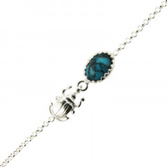 Bracelet Argent KHEOPS / Scarabée Turquoise16+2,5cm