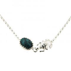 Collier Argent KHEOPS / Scarabée Turquoise 40+2,5cm