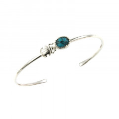 Bracelet Argent KHEOPS JONC Scarabée 8/6 Turquoise