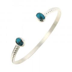 Bracelet Argent KHEOPS JONC boules 8/6 Turquoise