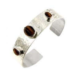 Bracelet Argent KHEOPS JONC15 Martelé boules 1x12/9 2x8/6 Oeil de tigre