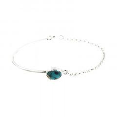 Bracelet Argent KHEOPS Semi-articulé FR20/Jas - Turquoise 8/6