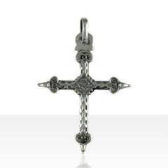 Croix Argent ENTRELACS/FLEUR MM