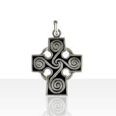 Croix Argent CELTIQUE SPIRALE
