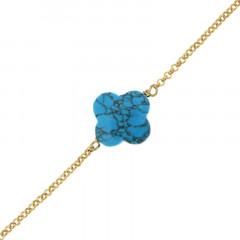 Bracelet Plaqué Or GALEA TREFLE - Turquoise traitée 16+3cm